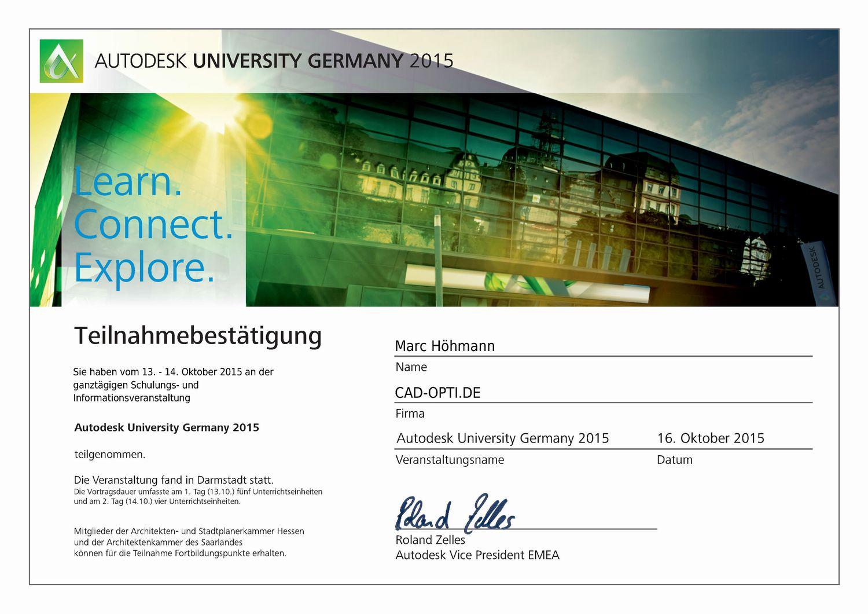 Autodesk University 2015 Teilnahmezertifikat