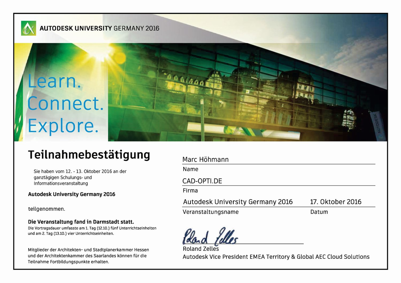 Autodesk University 2016 Teilnahmezertifikat