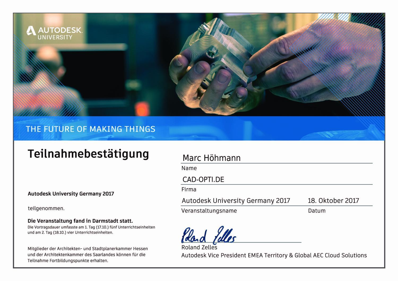 Autodesk University 2017 Teilnahmezertifikat